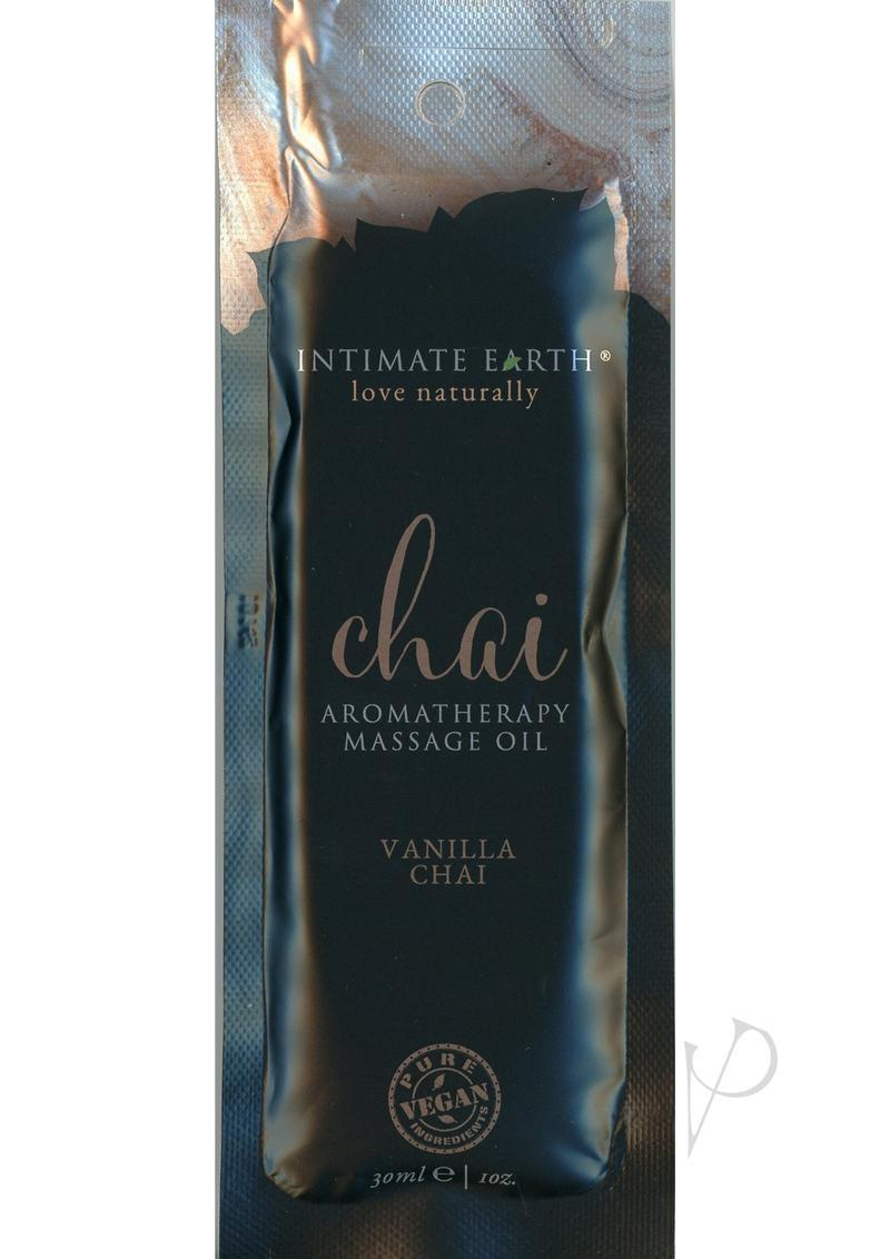 Intimate Earth Chai Aromatherapy Massage Oil Vanilla Chai Foil Pack 1 Ounce